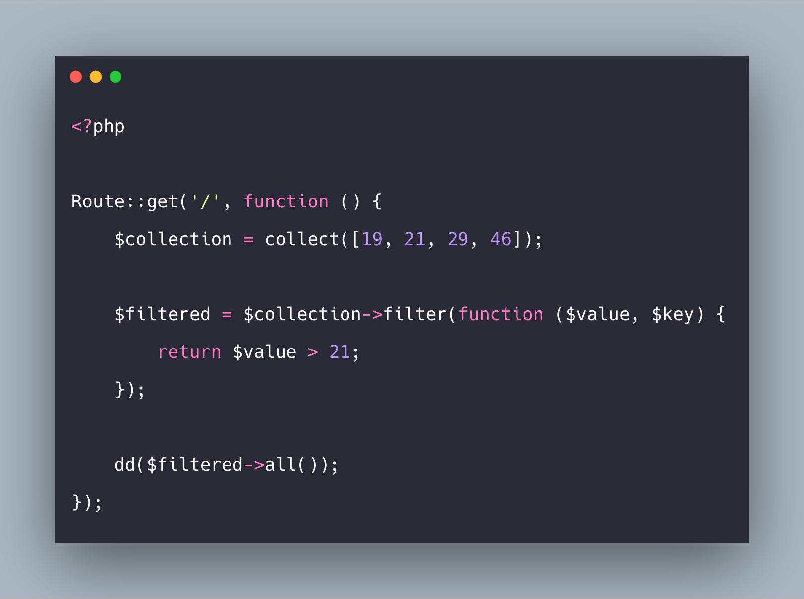 آموزش متد filter کالکشن در لاراول به همراه مثال