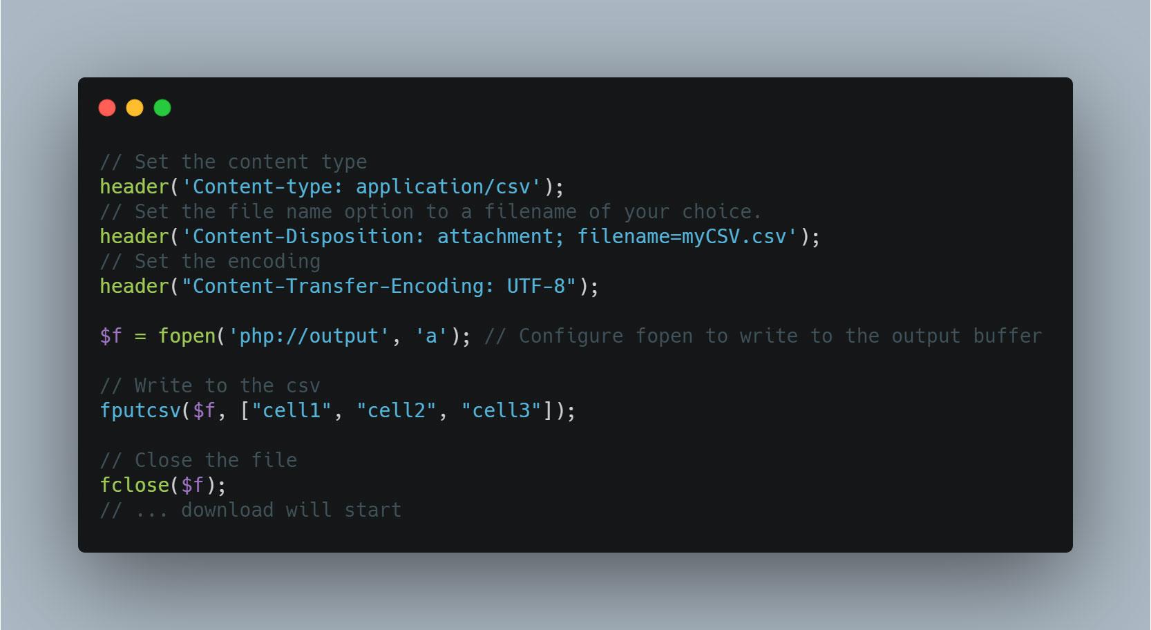 دانلود خودکار فایل CSV در PHP