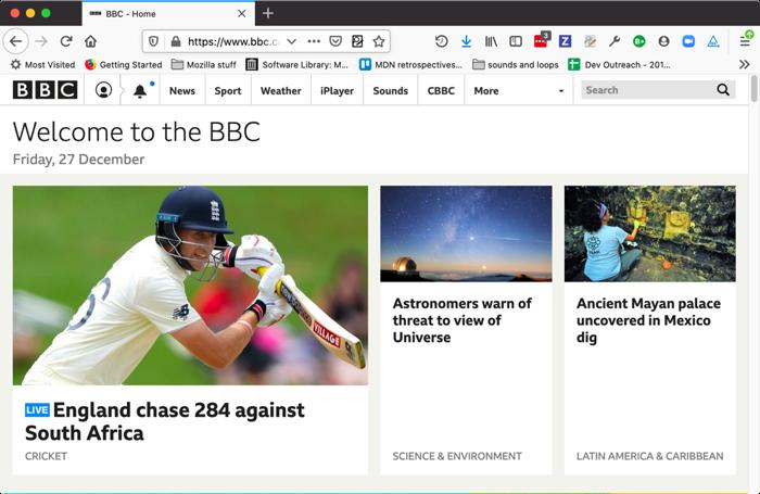 لینکها در صفحه اصلی وبسایت bbc